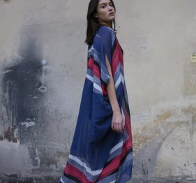 Agave Landscape Dove blue Caftan from Rodebjer